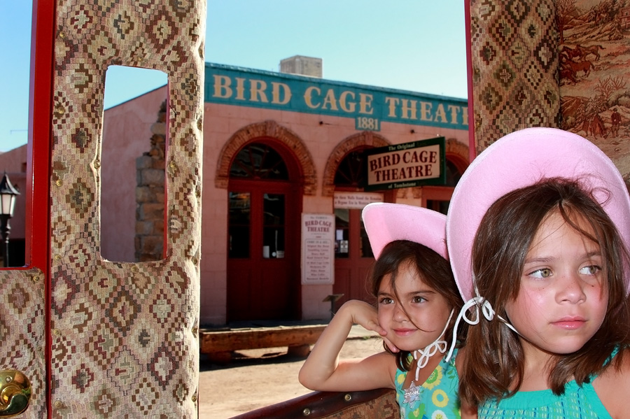 Daddy bought new hats for his girls to enjoy their stagecoach ride around Tombstone, Ariz. Photo by Jain Lemos.