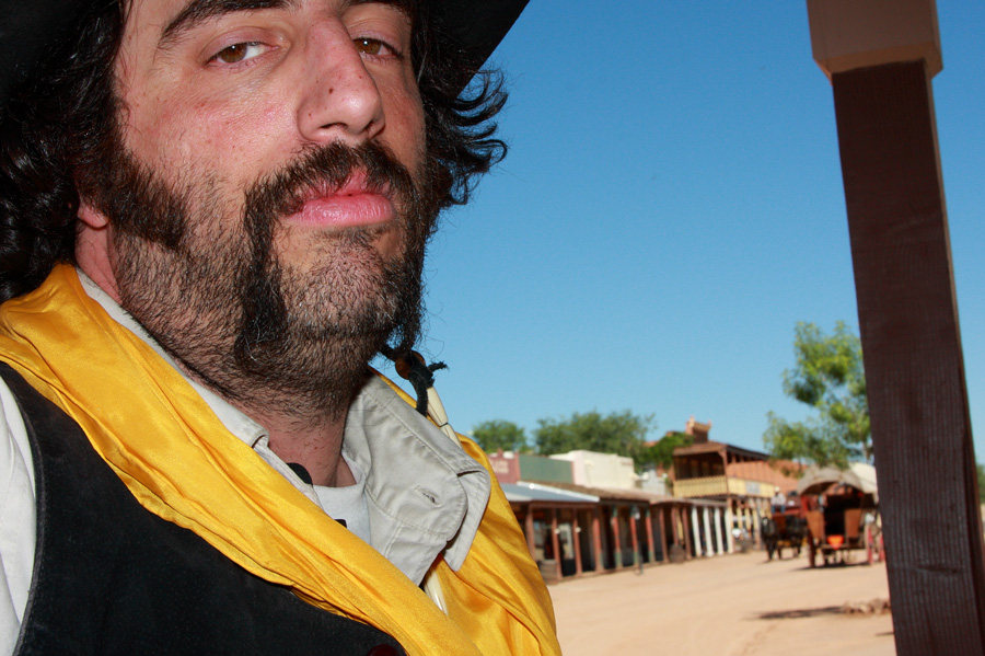 Reenactment Player Daniel Raphael says the competition among troupes is contentious; some things never change in Tombstone, Ariz. Photo by Jain Lemos.